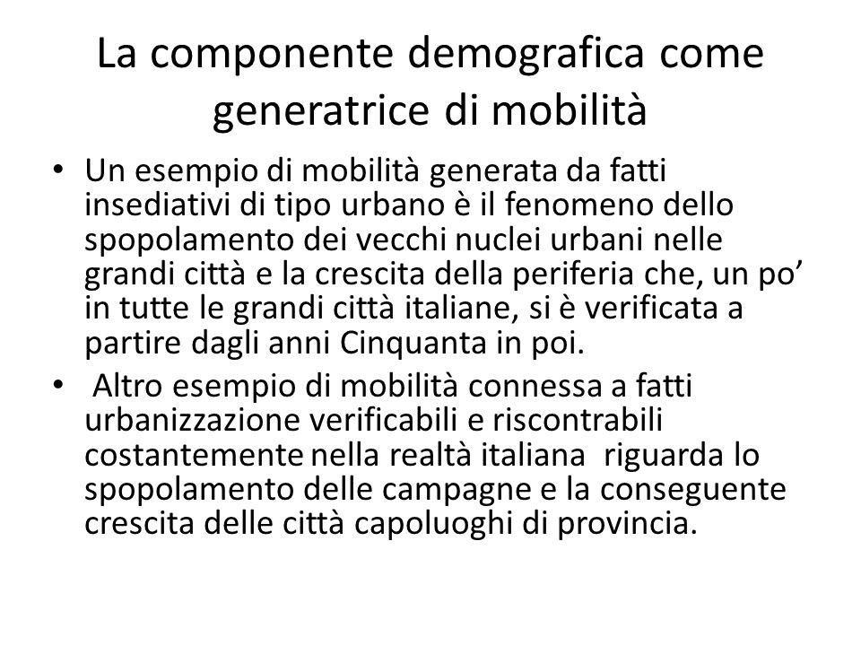 La componente demografica come generatrice di mobilità Un esempio di mobilità generata da fatti insediativi di tipo urbano è il fenomeno dello spopolamento dei vecchi nuclei urbani nelle grandi città e la crescita della periferia che, un po' in tutte le grandi città italiane, si è verificata a partire dagli anni Cinquanta in poi.