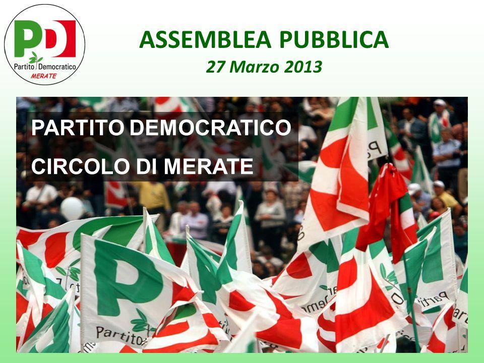 RISULTATI CAMERA DEI DEPUTATI Confronto dato nazionale / dato Merate RISULTATO NAZIONALE PARTITO DEMOCRATICO 25,4% 5 Stelle 25,5% PDL 21,6% Scelta Civica 8,3% Lega Nord 4,1% _____________________________ Totale centrosinistra29,5% Totale centrodestra 29,1% Totale Grillo25,5% Totale Monti10,5% RISULTATO MERATE PARTITO DEMOCRATICO 28,1% PDL 17,5% 5 Stelle 15,6% Scelta Civica15,2% Lega Nord 13,0% ______________________________ Totale centrodestra 32,0% Totale centrosinistra30,8% Totale Monti16,8% Totale Grillo15,6%