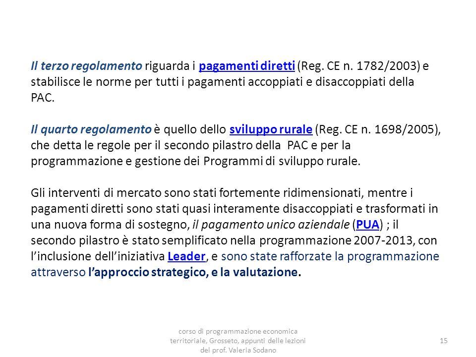 Il terzo regolamento riguarda i pagamenti diretti (Reg.