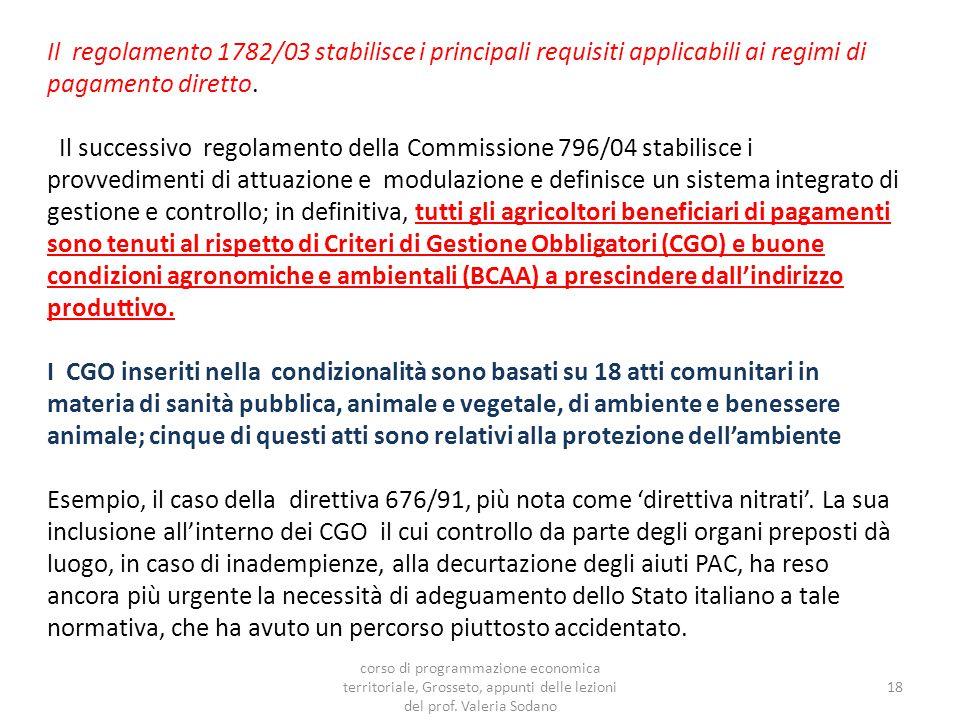 Il regolamento 1782/03 stabilisce i principali requisiti applicabili ai regimi di pagamento diretto.
