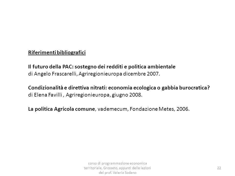 Riferimenti bibliografici Il futuro della PAC: sostegno dei redditi e politica ambientale di Angelo Frascarelli, Agriregionieuropa dicembre 2007.
