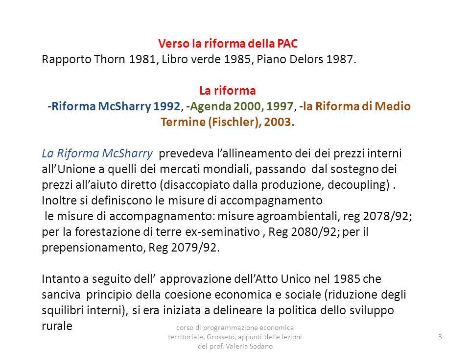 Verso la riforma della PAC Rapporto Thorn 1981, Libro verde 1985, Piano Delors 1987.