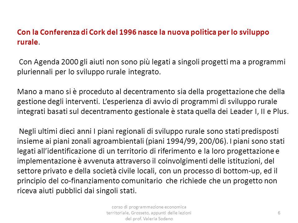 Con la Conferenza di Cork del 1996 nasce la nuova politica per lo sviluppo rurale.