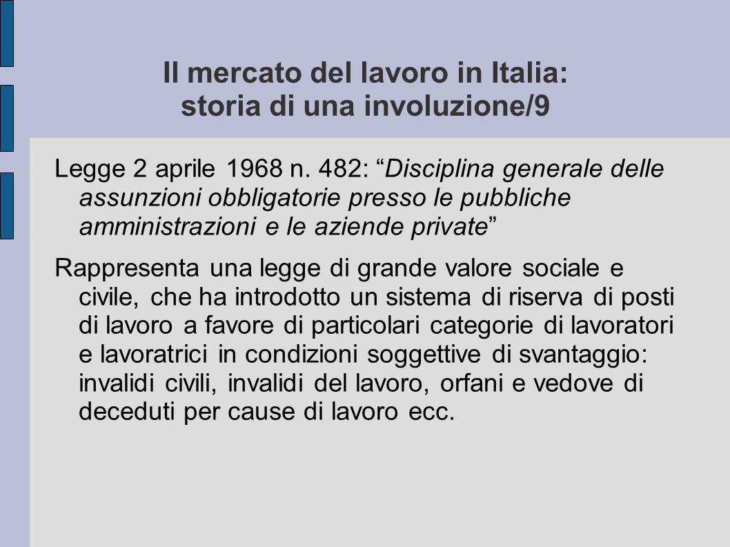 """Il mercato del lavoro in Italia: storia di una involuzione/9 Legge 2 aprile 1968 n. 482: """"Disciplina generale delle assunzioni obbligatorie presso le"""