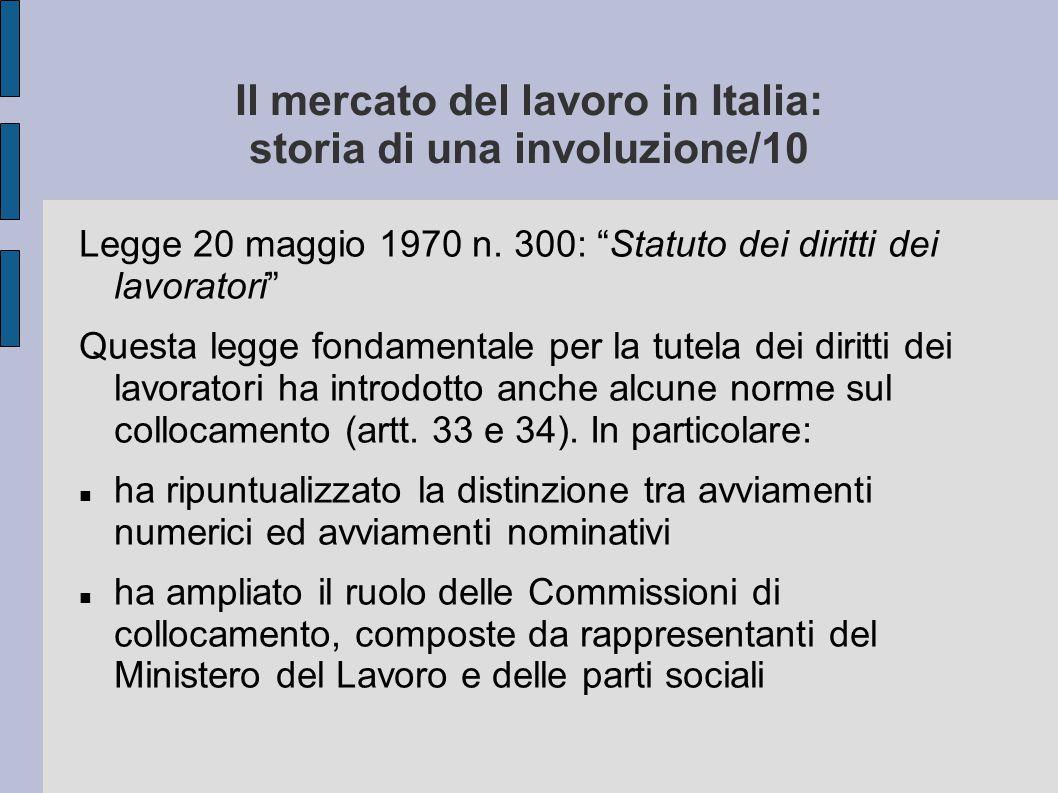 """Il mercato del lavoro in Italia: storia di una involuzione/10 Legge 20 maggio 1970 n. 300: """"Statuto dei diritti dei lavoratori"""" Questa legge fondament"""