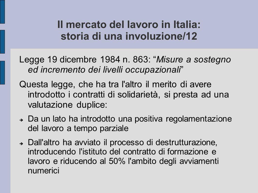 """Il mercato del lavoro in Italia: storia di una involuzione/12 Legge 19 dicembre 1984 n. 863: """"Misure a sostegno ed incremento dei livelli occupazional"""