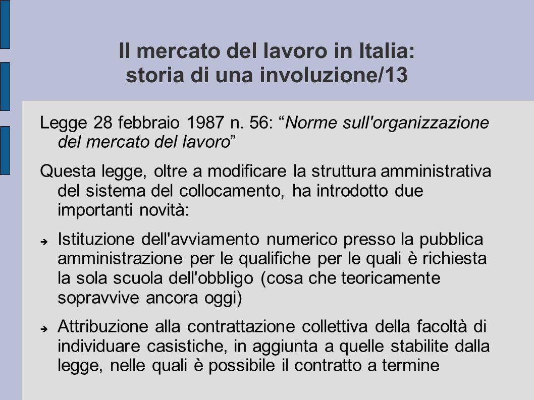 """Il mercato del lavoro in Italia: storia di una involuzione/13 Legge 28 febbraio 1987 n. 56: """"Norme sull'organizzazione del mercato del lavoro"""" Questa"""