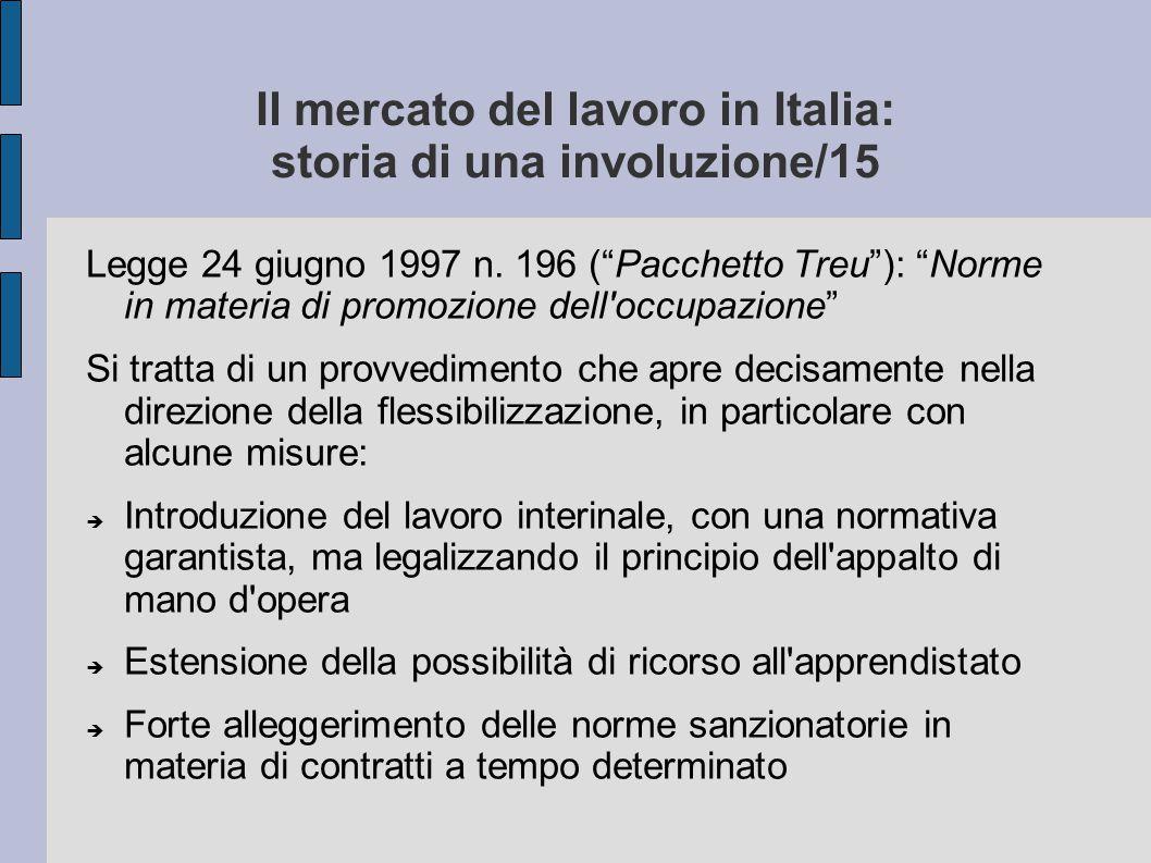 """Il mercato del lavoro in Italia: storia di una involuzione/15 Legge 24 giugno 1997 n. 196 (""""Pacchetto Treu""""): """"Norme in materia di promozione dell'occ"""