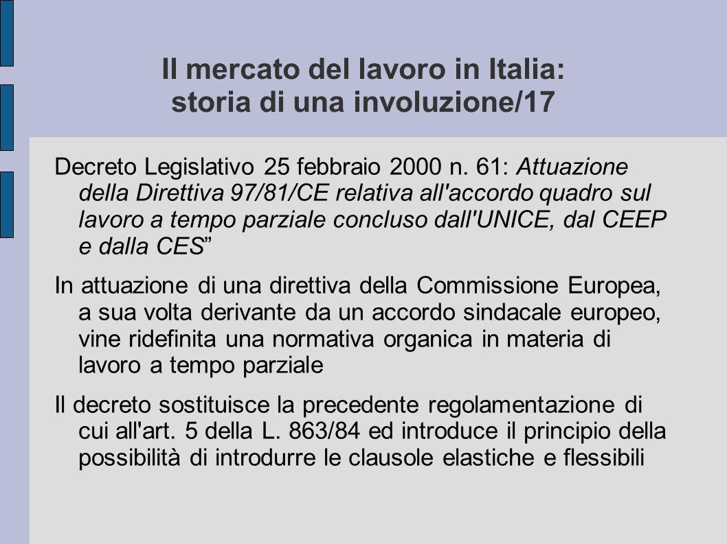Il mercato del lavoro in Italia: storia di una involuzione/17 Decreto Legislativo 25 febbraio 2000 n. 61: Attuazione della Direttiva 97/81/CE relativa