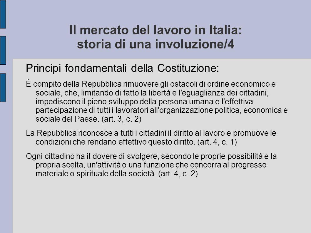 Il mercato del lavoro in Italia: storia di una involuzione/4-segue Principi fondamentali della Costituzione: L iniziativa economica privata è libera.