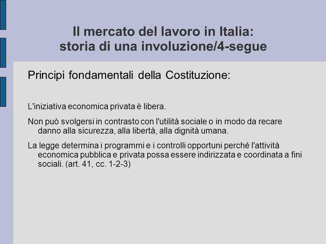 Il mercato del lavoro in Italia: storia di una involuzione/4-segue Principi fondamentali della Costituzione: L'iniziativa economica privata è libera.