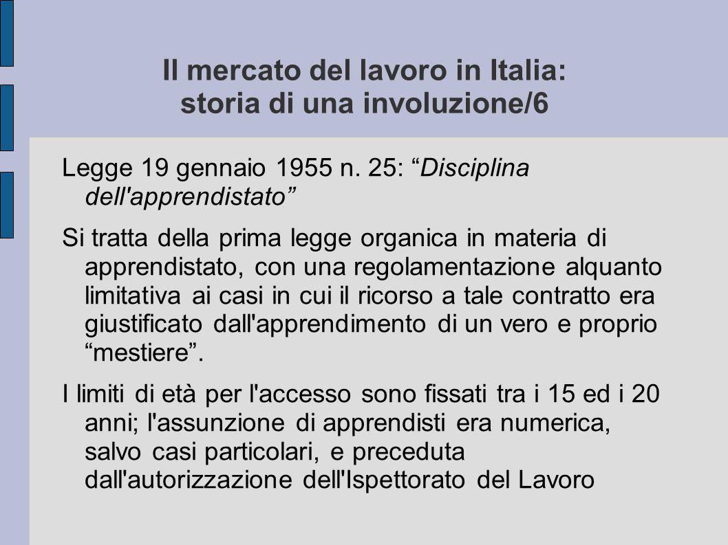 """Il mercato del lavoro in Italia: storia di una involuzione/6 Legge 19 gennaio 1955 n. 25: """"Disciplina dell'apprendistato"""" Si tratta della prima legge"""