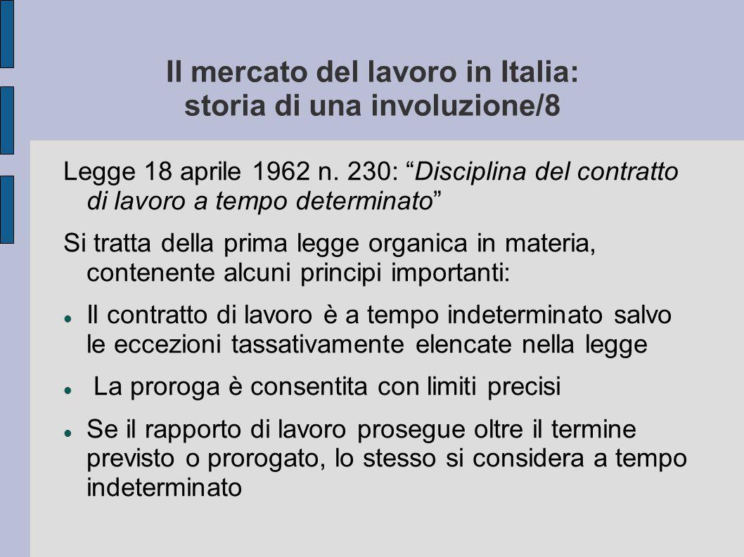 """Il mercato del lavoro in Italia: storia di una involuzione/8 Legge 18 aprile 1962 n. 230: """"Disciplina del contratto di lavoro a tempo determinato"""" Si"""