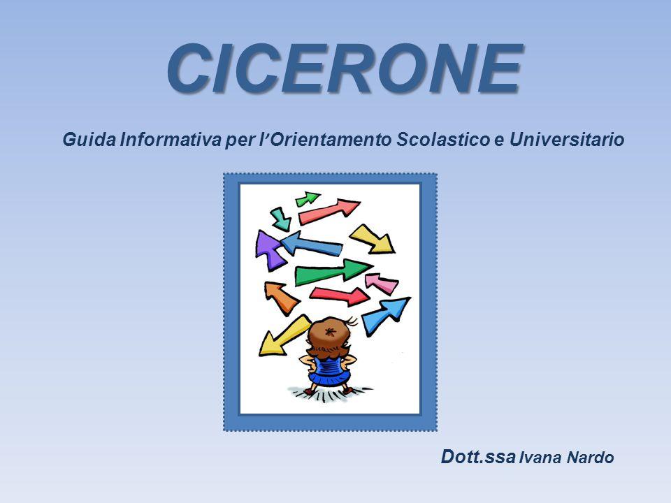 Guida Informativa per l ' Orientamento Scolastico e Universitario CICERONE Dott.ssa Ivana Nardo