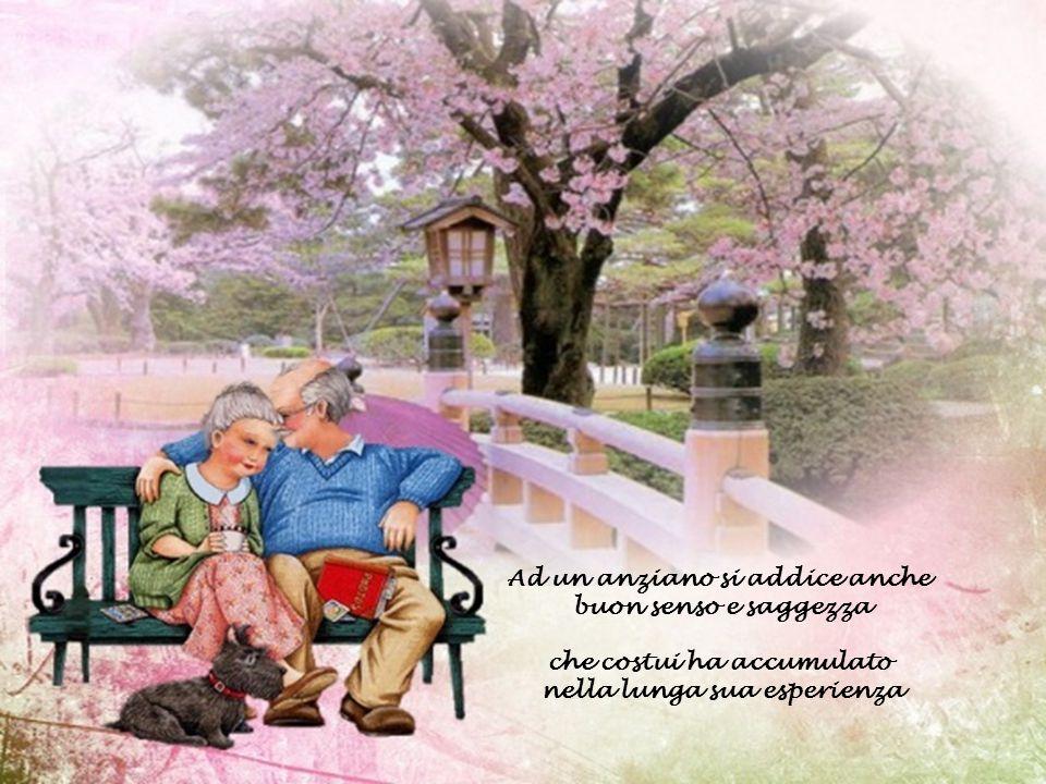 Ad un anziano si addice anche buon senso e saggezza che costui ha accumulato nella lunga sua esperienza