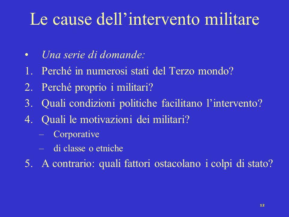 12 Le cause dell'intervento militare Una serie di domande: 1.Perché in numerosi stati del Terzo mondo? 2.Perché proprio i militari? 3.Quali condizioni