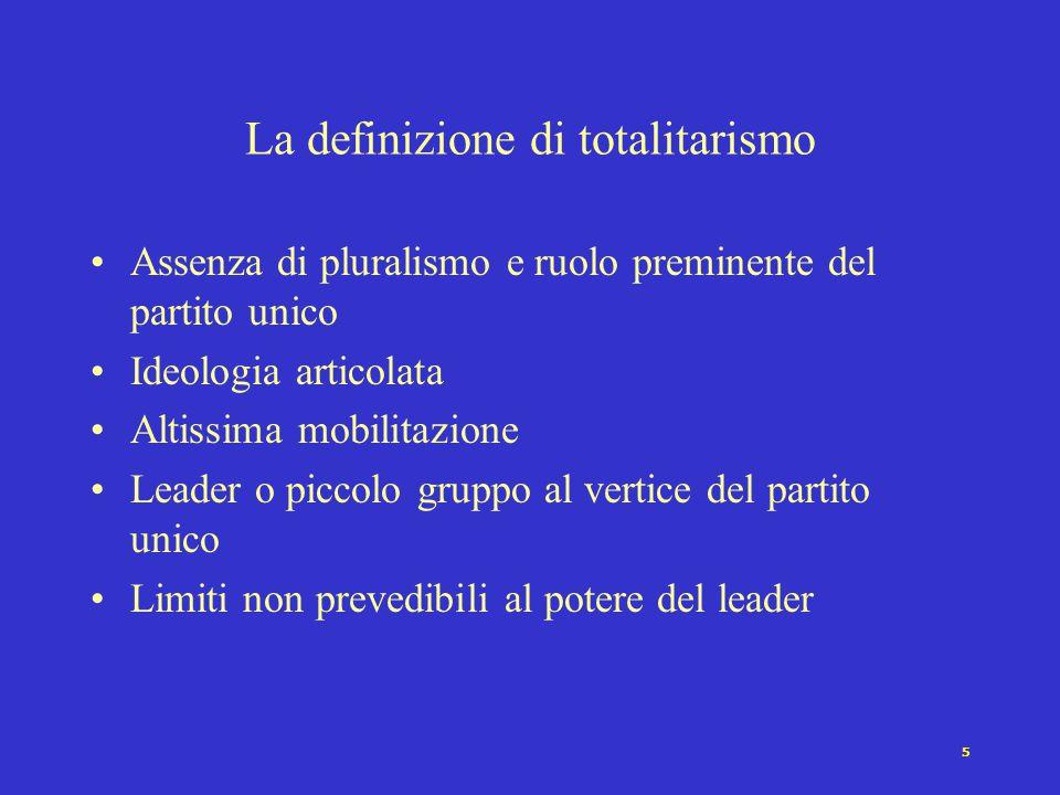 5 Assenza di pluralismo e ruolo preminente del partito unico Ideologia articolata Altissima mobilitazione Leader o piccolo gruppo al vertice del parti