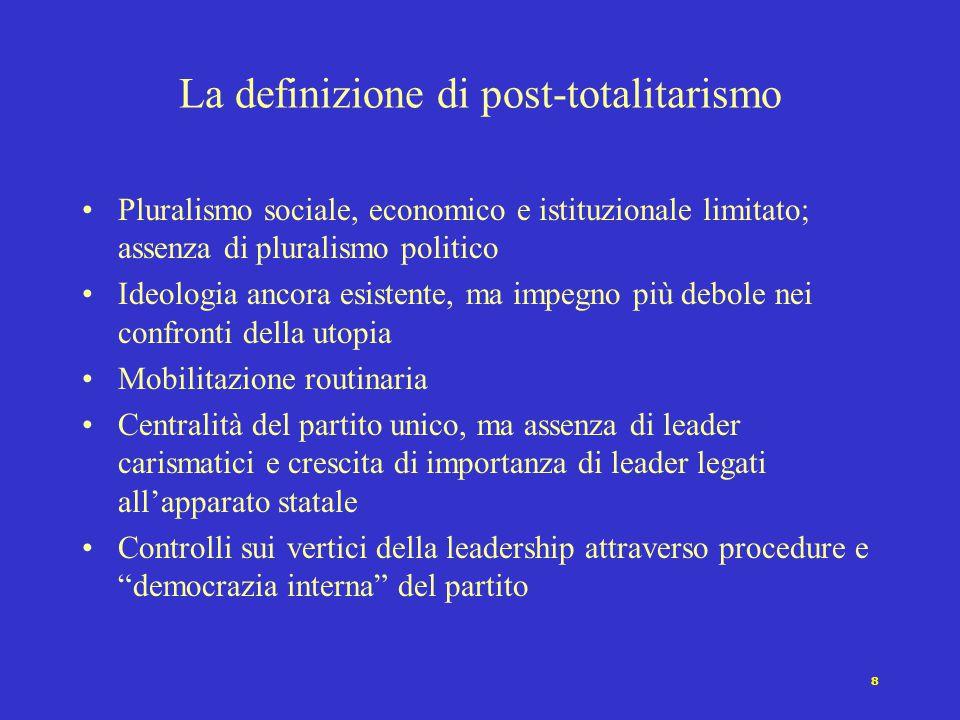 8 Pluralismo sociale, economico e istituzionale limitato; assenza di pluralismo politico Ideologia ancora esistente, ma impegno più debole nei confron