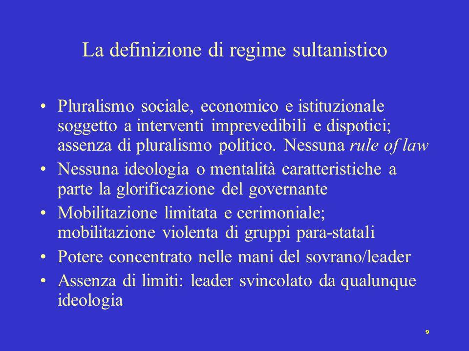 9 Pluralismo sociale, economico e istituzionale soggetto a interventi imprevedibili e dispotici; assenza di pluralismo politico. Nessuna rule of law N