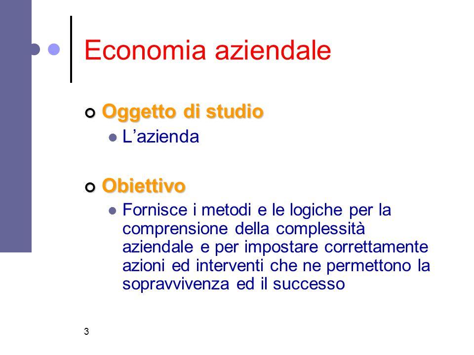3 Economia aziendale Oggetto di studio L'aziendaObiettivo Fornisce i metodi e le logiche per la comprensione della complessità aziendale e per imposta