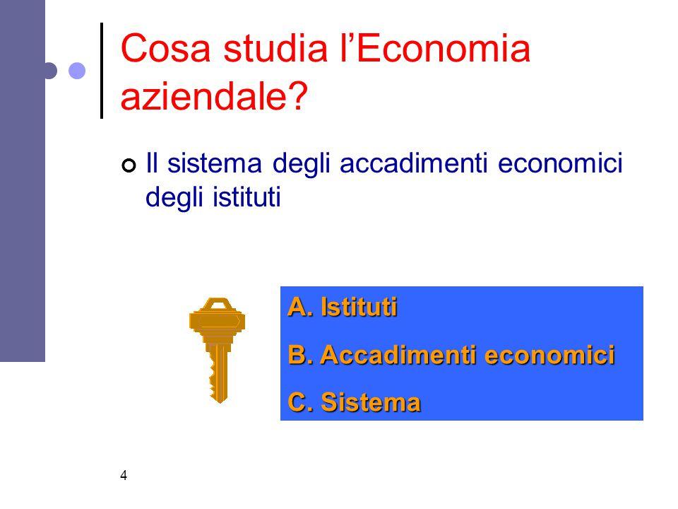 4 Cosa studia l'Economia aziendale? Il sistema degli accadimenti economici degli istituti A. Istituti B. Accadimenti economici C. Sistema