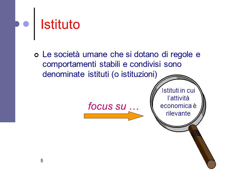 5 Istituto Le società umane che si dotano di regole e comportamenti stabili e condivisi sono denominate istituti (o istituzioni) Istituti in cui l'att