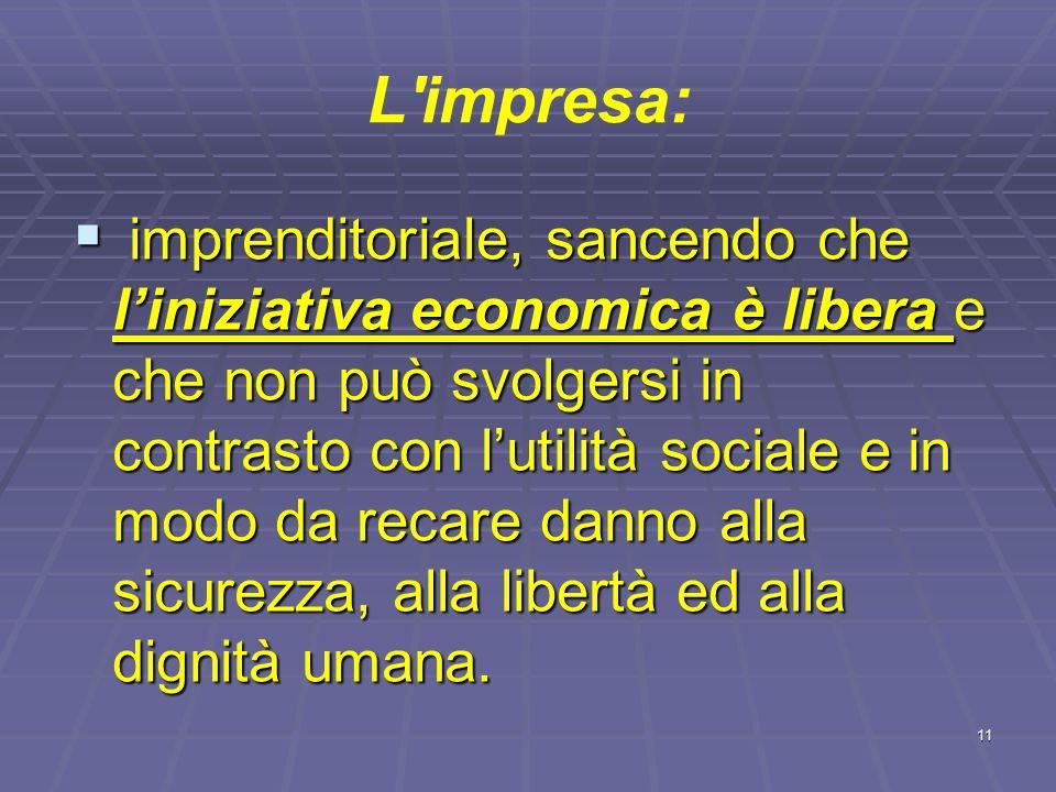 L'impresa:   Il c.c. non definisce l'impresa ma l'imprenditore.   L'art. 41 della Costituzione indica i caratteri e le finalità dell'attività econ
