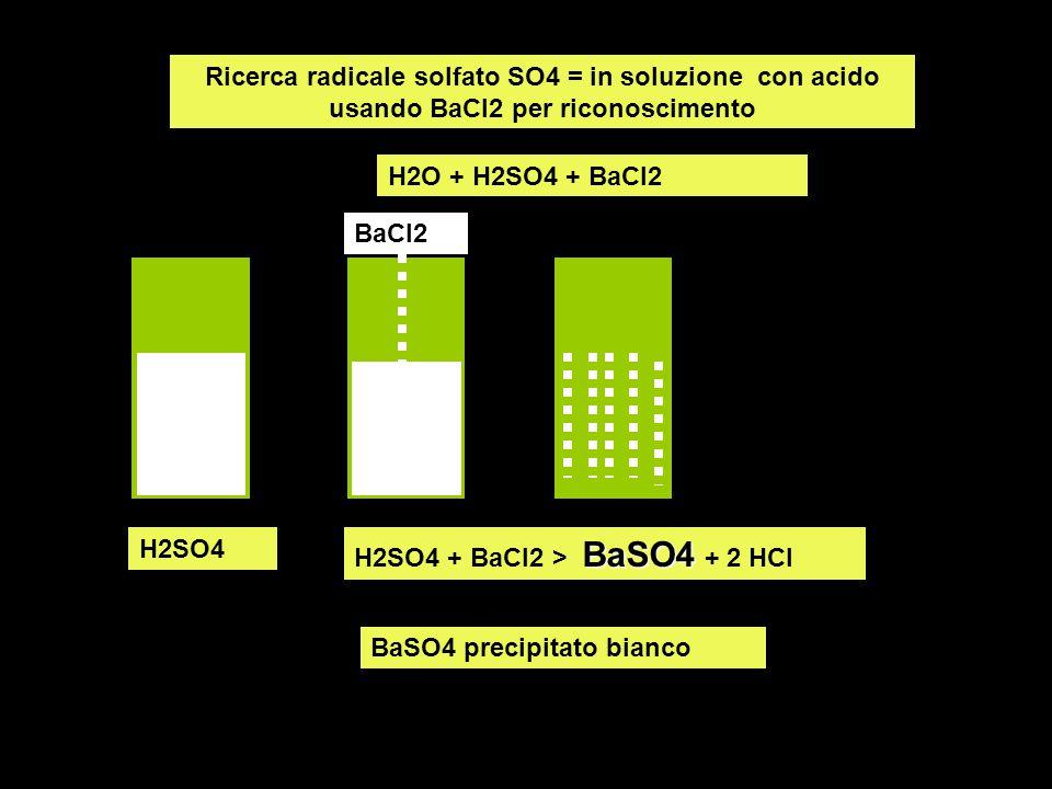Ricerca radicale solfato SO4 = in soluzione con acido usando BaCl2 per riconoscimento H2SO4 BaSO4 H2SO4 + BaCl2 > BaSO4 + 2 HCl H2O + H2SO4 + BaCl2 BaCl2 BaSO4 precipitato bianco