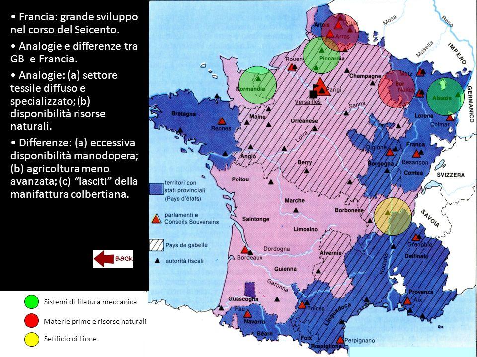 Francia: grande sviluppo nel corso del Seicento. Analogie e differenze tra GB e Francia.