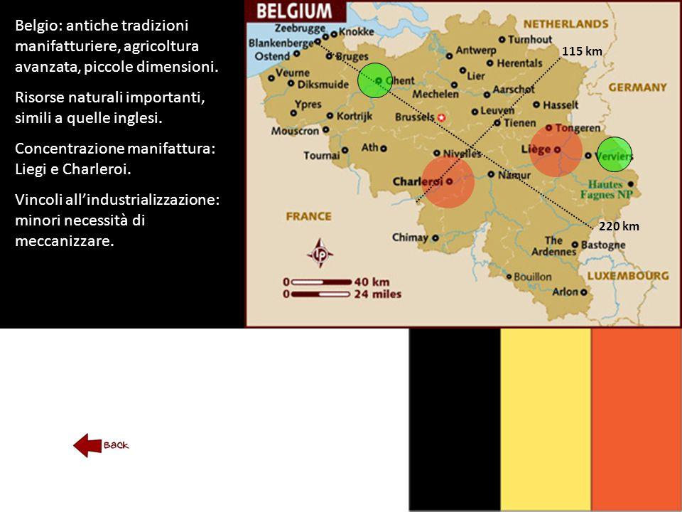 Belgio: antiche tradizioni manifatturiere, agricoltura avanzata, piccole dimensioni.