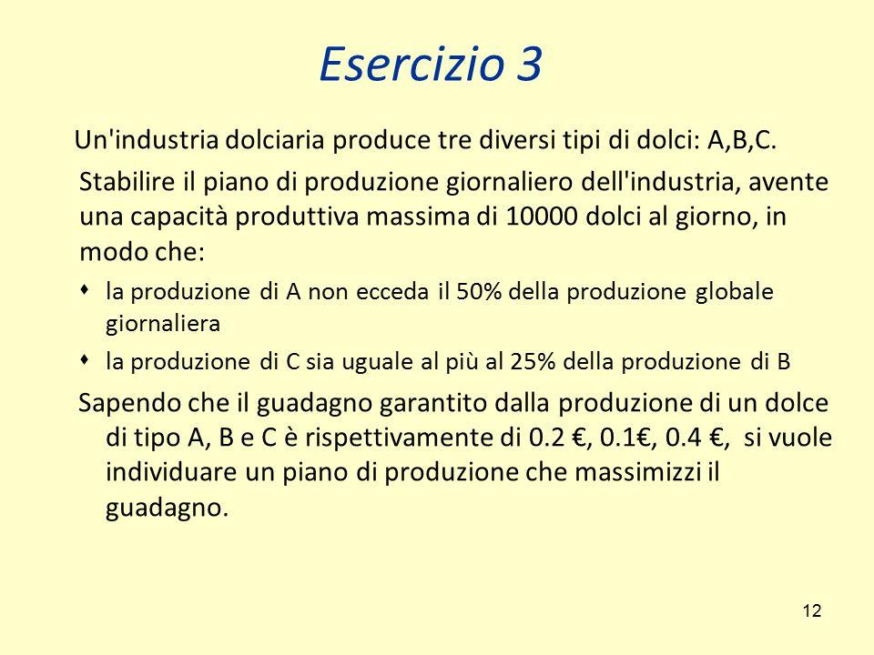 12 Un'industria dolciaria produce tre diversi tipi di dolci: A,B,C. Stabilire il piano di produzione giornaliero dell'industria, avente una capacità p