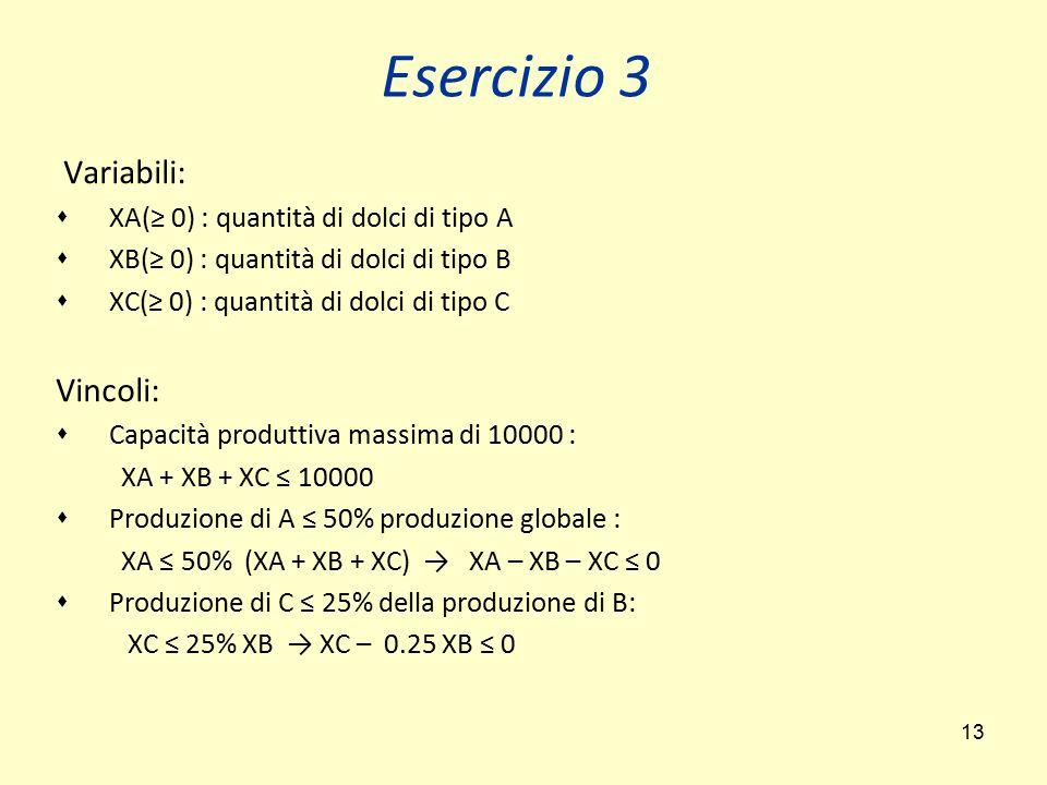 13 Variabili:  XA(≥ 0) : quantità di dolci di tipo A  XB(≥ 0) : quantità di dolci di tipo B  XC(≥ 0) : quantità di dolci di tipo C Vincoli:  Capac