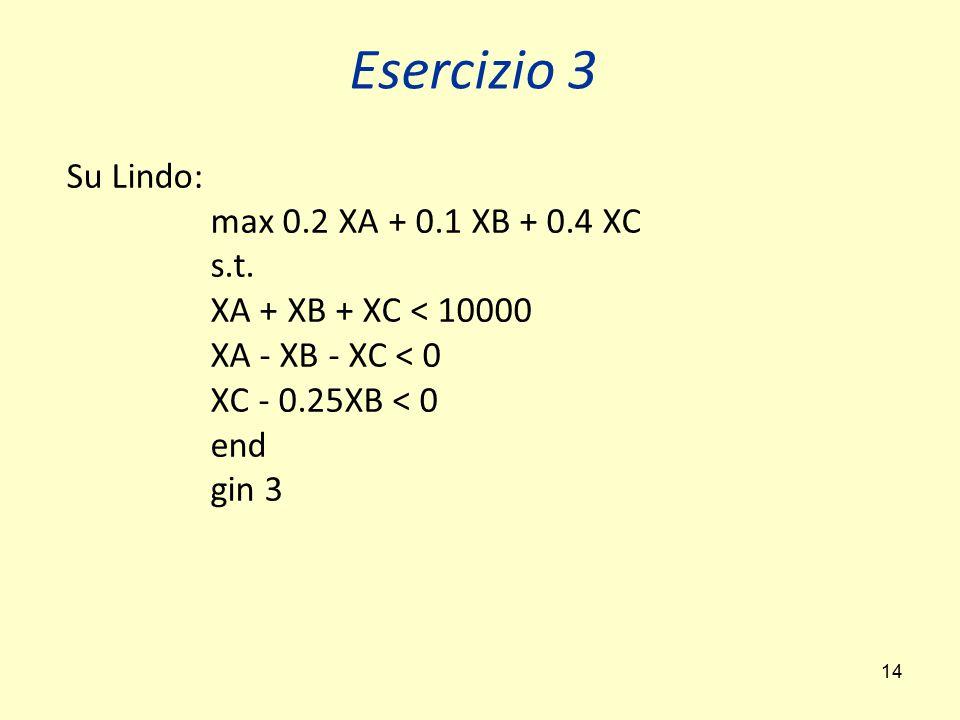 14 Su Lindo: max 0.2 XA + 0.1 XB + 0.4 XC s.t. XA + XB + XC < 10000 XA - XB - XC < 0 XC - 0.25XB < 0 end gin 3 Esercizio 3