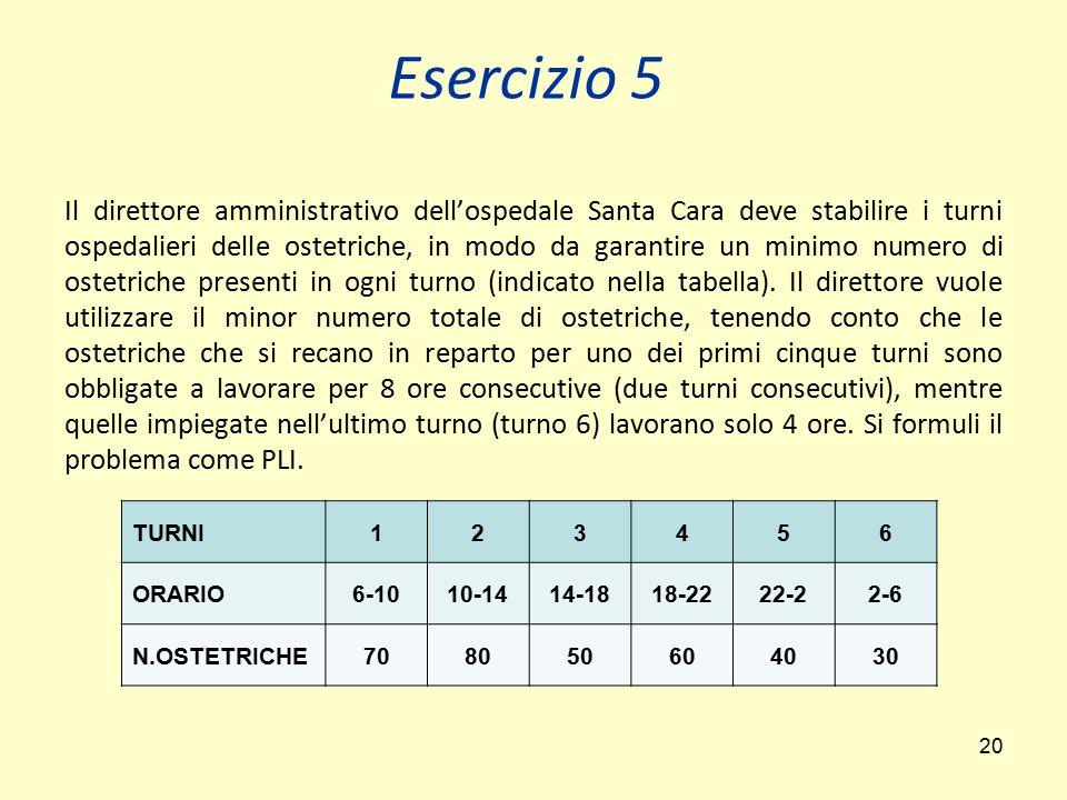 20 Il direttore amministrativo dell'ospedale Santa Cara deve stabilire i turni ospedalieri delle ostetriche, in modo da garantire un minimo numero di