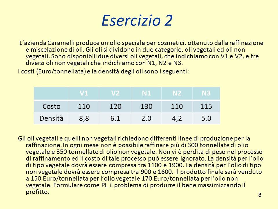 8 Esercizio 2 L'azienda Caramelli produce un olio speciale per cosmetici, ottenuto dalla raffinazione e miscelazione di oli. Gli oli si dividono in du