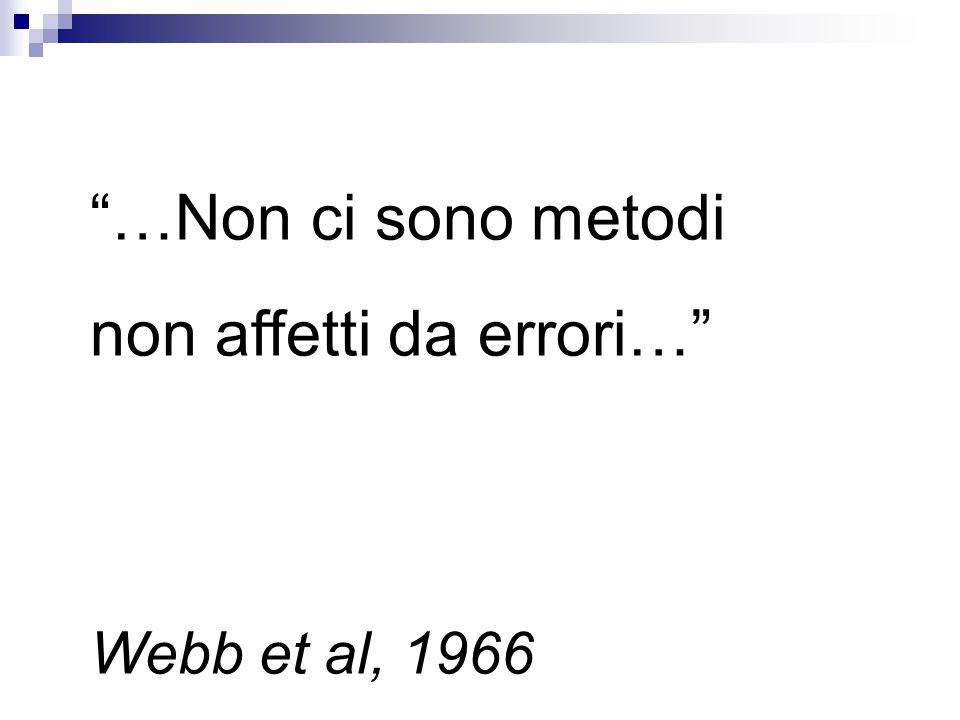 …Non ci sono metodi non affetti da errori… Webb et al, 1966