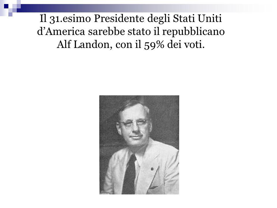 Il 31.esimo Presidente degli Stati Uniti d'America sarebbe stato il repubblicano Alf Landon, con il 59% dei voti.