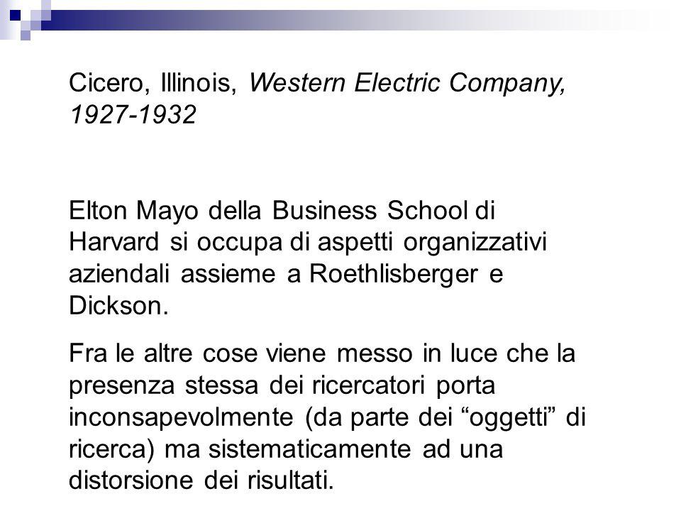 Cicero, Illinois, Western Electric Company, 1927-1932 Elton Mayo della Business School di Harvard si occupa di aspetti organizzativi aziendali assieme a Roethlisberger e Dickson.
