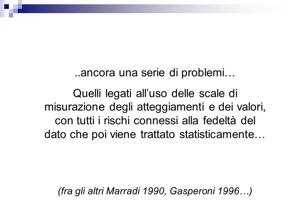 ..ancora una serie di problemi… Quelli legati all'uso delle scale di misurazione degli atteggiamenti e dei valori, con tutti i rischi connessi alla fedeltà del dato che poi viene trattato statisticamente… (fra gli altri Marradi 1990, Gasperoni 1996…)