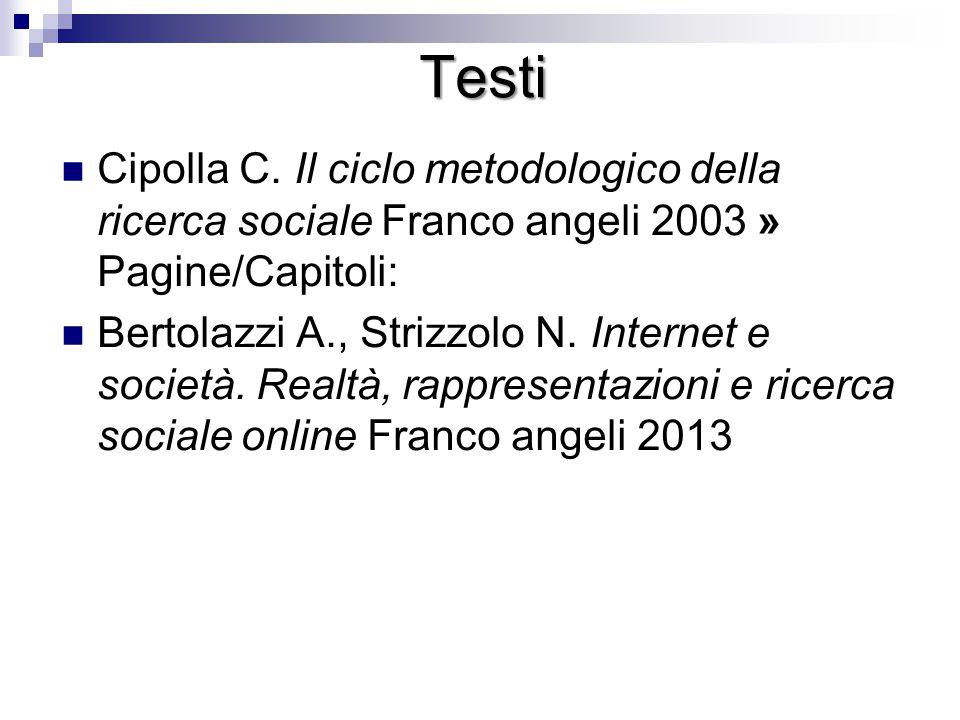 Testi Cipolla C. Il ciclo metodologico della ricerca sociale Franco angeli 2003 » Pagine/Capitoli: Bertolazzi A., Strizzolo N. Internet e società. Rea