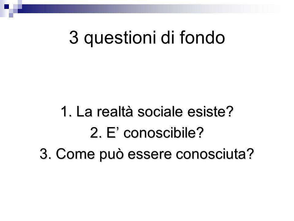 3 questioni di fondo 1. La realtà sociale esiste? 2. E' conoscibile? 3. Come può essere conosciuta?