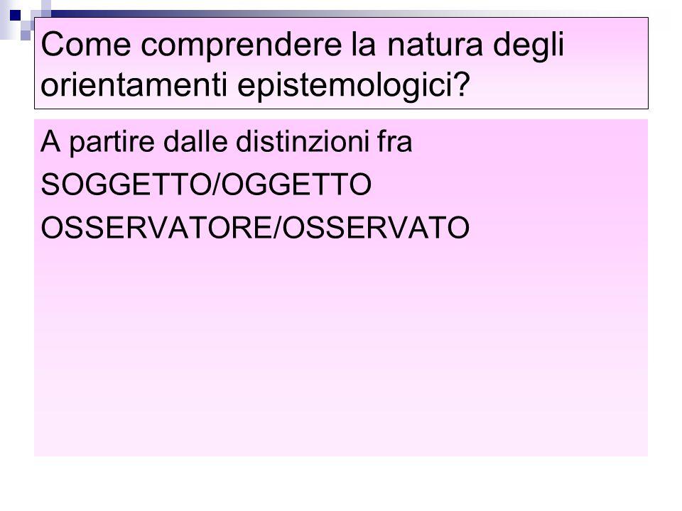 Come comprendere la natura degli orientamenti epistemologici? A partire dalle distinzioni fra SOGGETTO/OGGETTO OSSERVATORE/OSSERVATO