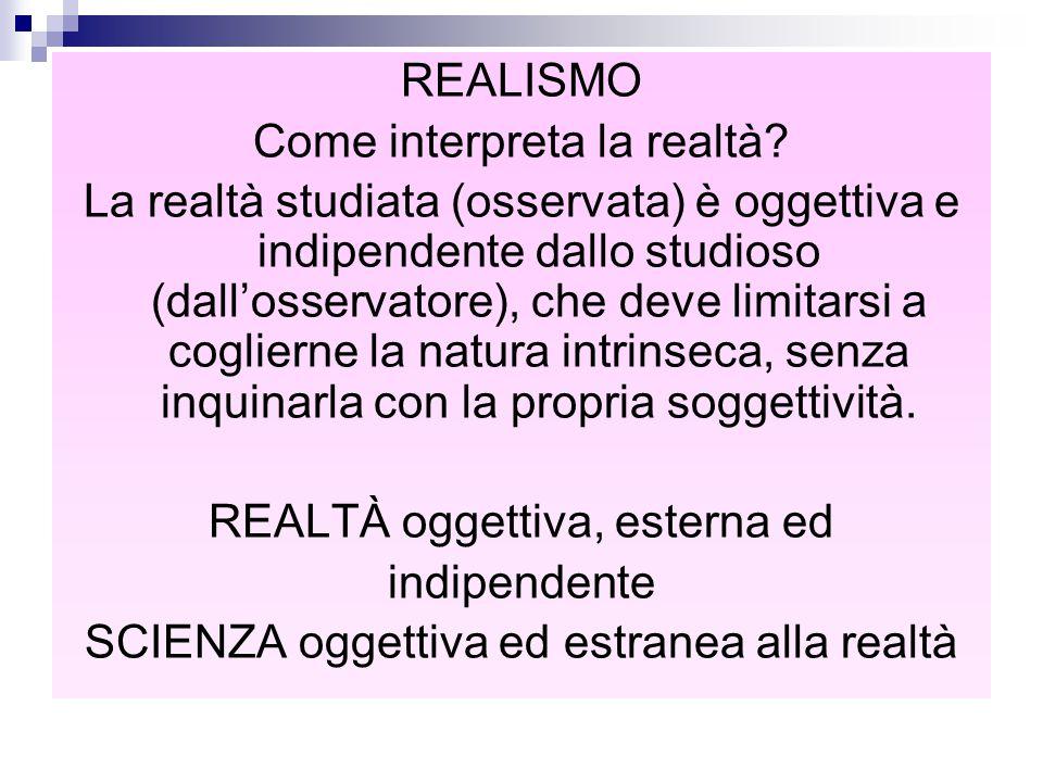 REALISMO Come interpreta la realtà? La realtà studiata (osservata) è oggettiva e indipendente dallo studioso (dall'osservatore), che deve limitarsi a