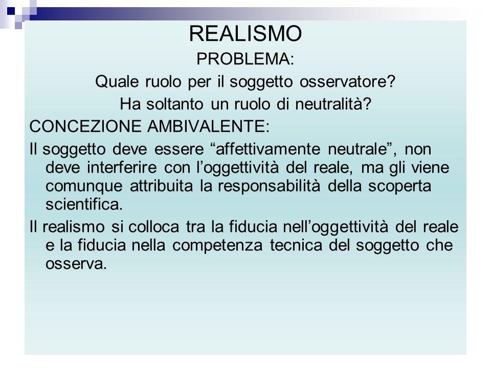 """REALISMO PROBLEMA: Quale ruolo per il soggetto osservatore? Ha soltanto un ruolo di neutralità? CONCEZIONE AMBIVALENTE: Il soggetto deve essere """"affet"""