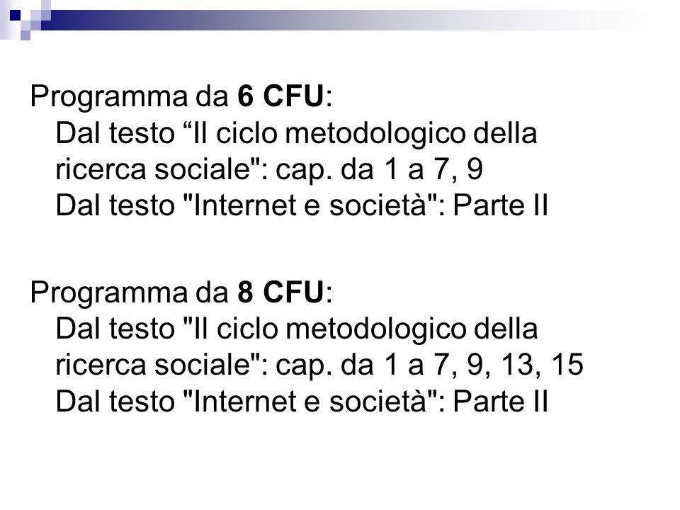 Programma da 6 CFU: Dal testo Il ciclo metodologico della ricerca sociale : cap.