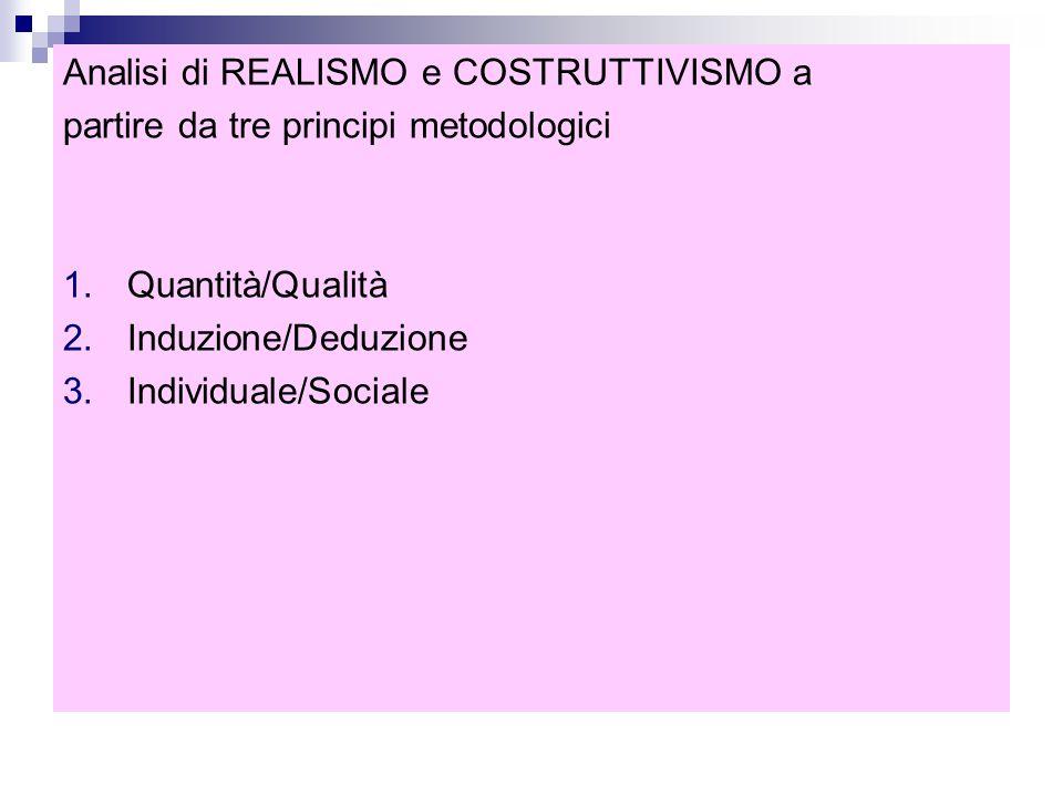 Analisi di REALISMO e COSTRUTTIVISMO a partire da tre principi metodologici 1.Quantità/Qualità 2.Induzione/Deduzione 3.Individuale/Sociale