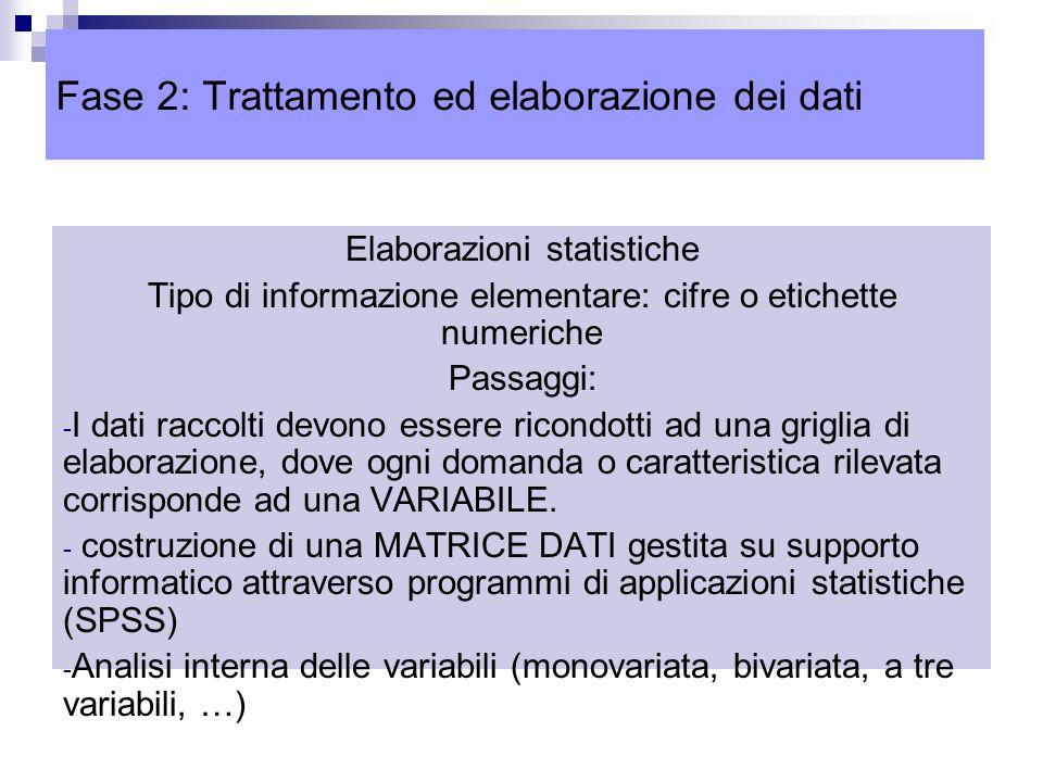 Elaborazioni statistiche Tipo di informazione elementare: cifre o etichette numeriche Passaggi: - I dati raccolti devono essere ricondotti ad una griglia di elaborazione, dove ogni domanda o caratteristica rilevata corrisponde ad una VARIABILE.