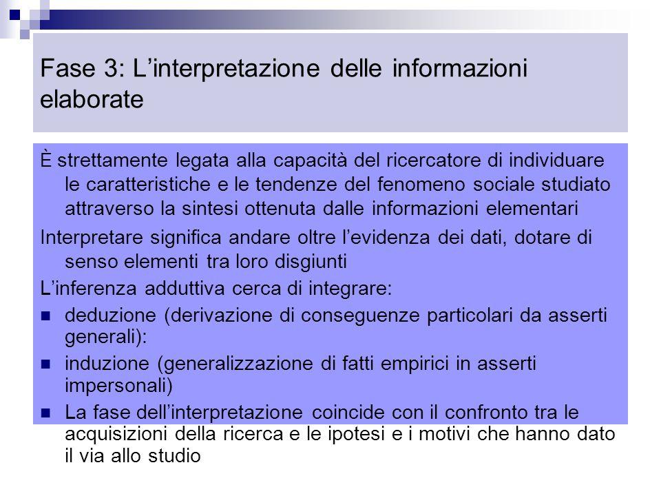 Fase 3: L'interpretazione delle informazioni elaborate È strettamente legata alla capacità del ricercatore di individuare le caratteristiche e le tendenze del fenomeno sociale studiato attraverso la sintesi ottenuta dalle informazioni elementari Interpretare significa andare oltre l'evidenza dei dati, dotare di senso elementi tra loro disgiunti L'inferenza adduttiva cerca di integrare: deduzione (derivazione di conseguenze particolari da asserti generali): induzione (generalizzazione di fatti empirici in asserti impersonali) La fase dell'interpretazione coincide con il confronto tra le acquisizioni della ricerca e le ipotesi e i motivi che hanno dato il via allo studio