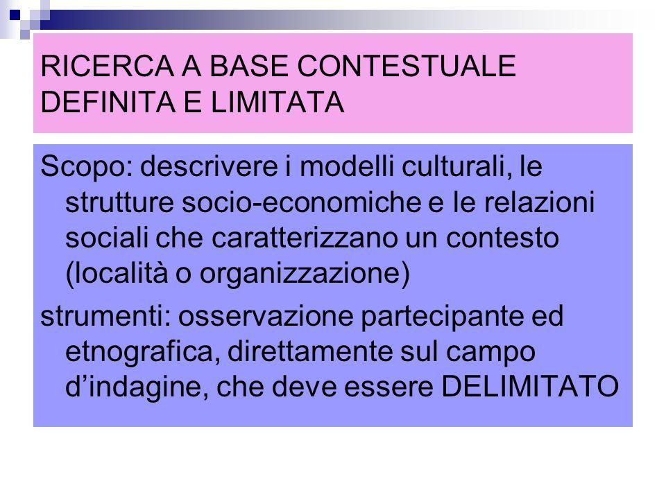 RICERCA A BASE CONTESTUALE DEFINITA E LIMITATA Scopo: descrivere i modelli culturali, le strutture socio-economiche e le relazioni sociali che caratte
