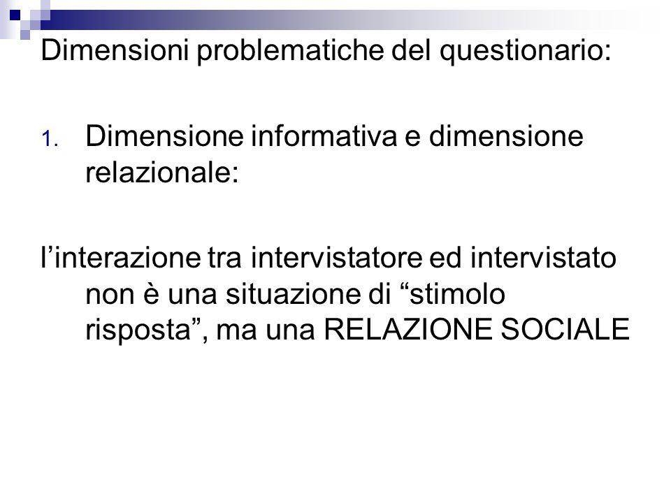 Dimensioni problematiche del questionario: 1.